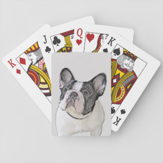 French Bulldog (Brindle Pied) Painting - Dog Art Playing Cards
