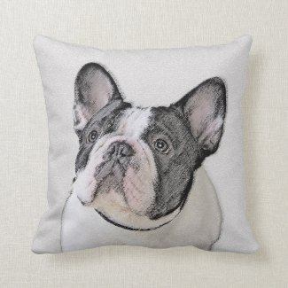 French Bulldog (Brindle Pied) Throw Pillow