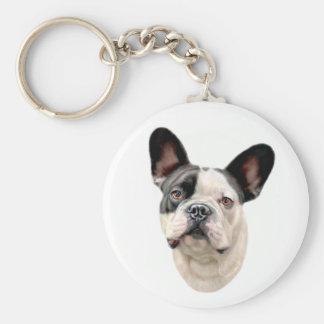 French Bulldog BW Bust Key Chain
