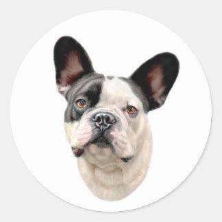 French Bulldog BW Bust Round Sticker