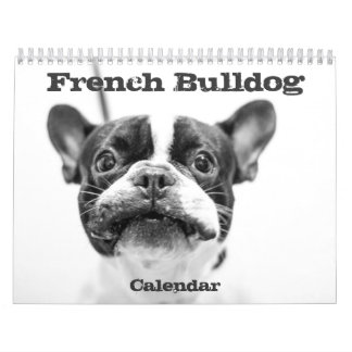 French Bulldog Calendar 2018 Black White Custom