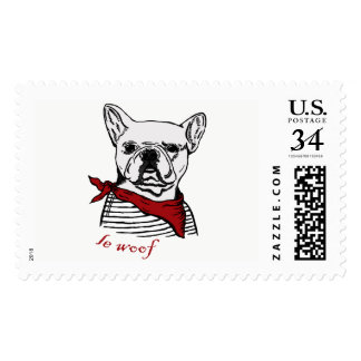 French Bulldog cartoon drawing Postage
