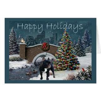 French Bulldog Christmas Card Evening