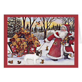French Bulldog Christmas Card Santa Bears