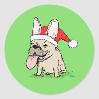 French Bulldog Christmas Classic Round Sticker