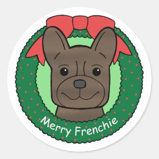 French Bulldog Christmas Round Sticker