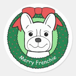 French Bulldog Christmas Round Stickers