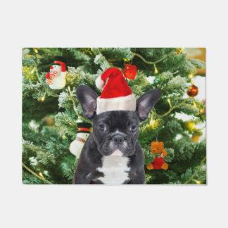 French Bulldog Christmas Tree Ornaments Snowman Doormat