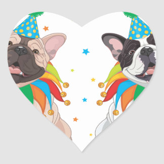 French Bulldog Clown - Support French Bulldog Club Heart Sticker