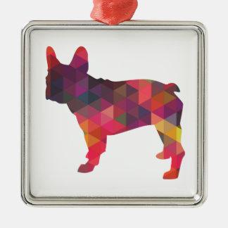 French Bulldog colorful Geometric Silhouette Metal Ornament