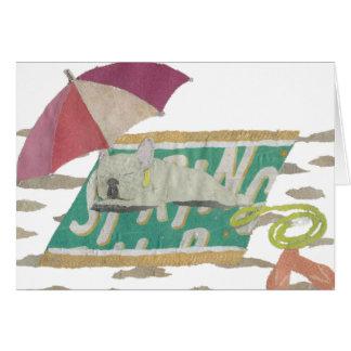 French Bulldog, Cream Frenchie, Colorful, Beach Card