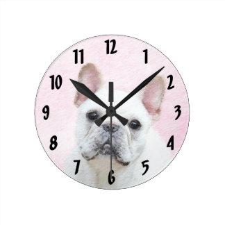 French Bulldog (Cream/White) Painting - Dog Art Round Clock