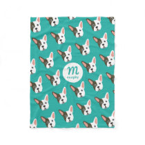 French Bulldog Cute Dog Custom Monogram Your Color Fleece Blanket