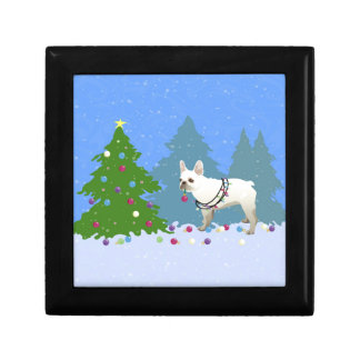 French Bulldog Decorating Tree in the Forest Keepsake Box