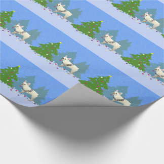 French Bulldog Decorating Tree in the Forest Wrapping Paper
