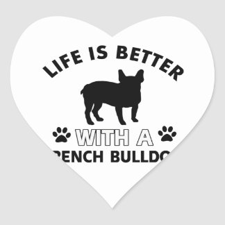 French Bulldog designs Heart Sticker