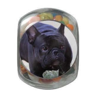 French Bulldog dog Glass Candy Jar