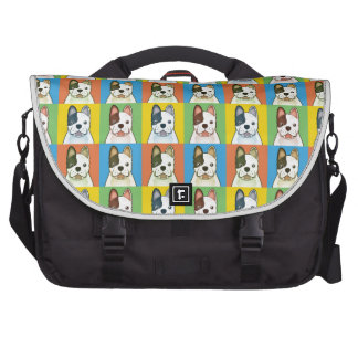 French Bulldog Dog Cartoon Pop-Art Laptop Messenger Bag