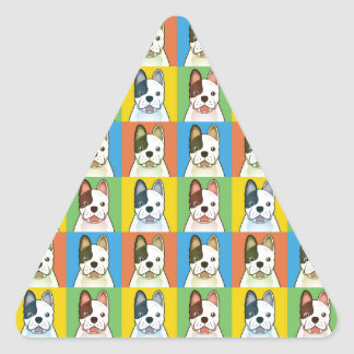 French Bulldog Dog Cartoon Pop-Art Triangle Sticker