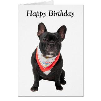 French Bulldog dog cute photo happy birthday card