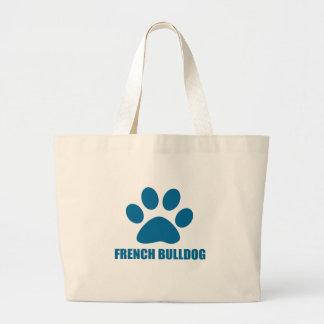 FRENCH BULLDOG DOG DESIGNS LARGE TOTE BAG