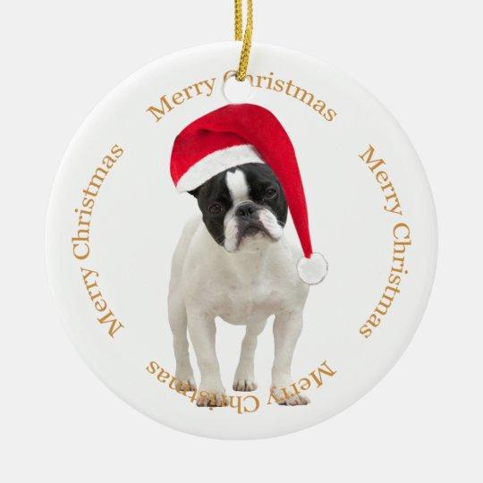 French Bulldog dog green christmas tree ornament