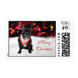 French Bulldog dog snow custom Christmas postage
