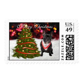 French Bulldog dog snow tree custom Christmas Stamps