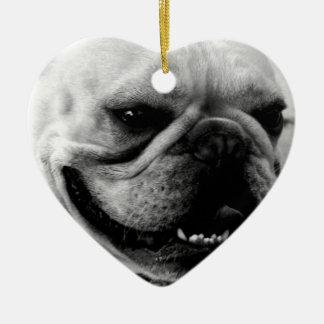 French Bulldog Double-Sided Heart Ceramic Christmas Ornament