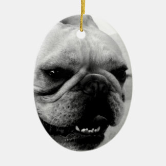 French Bulldog Double-Sided Oval Ceramic Christmas Ornament