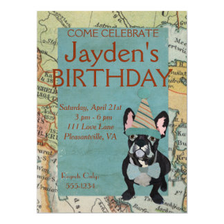FRENCH BULLDOG EXPLORE BIRTHDAY INVITATION
