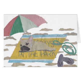 French Bulldog, Fawn Frenchie, Colorful, Beach Card
