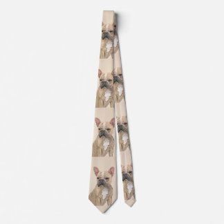 French Bulldog (Fawn Pied) Painting - Dog Art Neck Tie