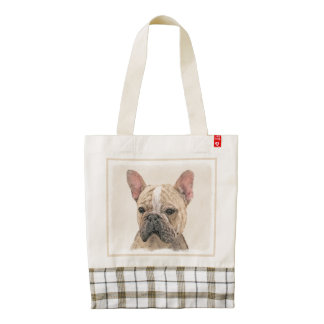 French Bulldog (Fawn Pied) Painting - Dog Art Zazzle HEART Tote Bag