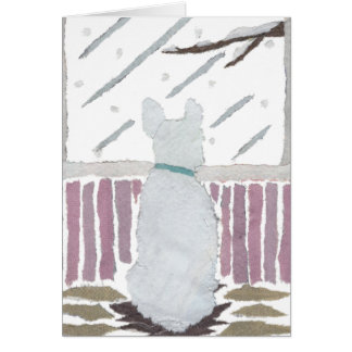 French Bulldog, Frenchie, Snow, Winter, Dog Art Card