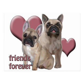 French Bulldog Friends Forever Postcard
