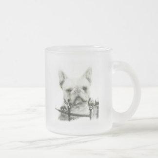 French Bulldog Frosted Glass Coffee Mug