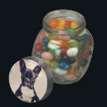 """French Bulldog Glass Jar<br><div class=""""desc"""">add text or upload your own image</div>"""