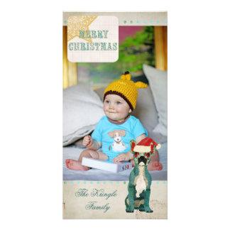 French Bulldog Gold Blue Christmas Photo Card