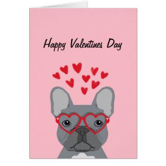 French Bulldog - grey valentines love card