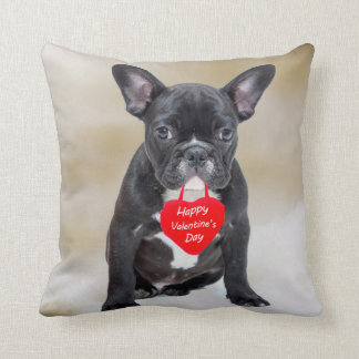 French Bulldog Happy Valentine's Day Pillow