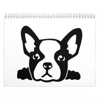 French Bulldog head face Wall Calendars