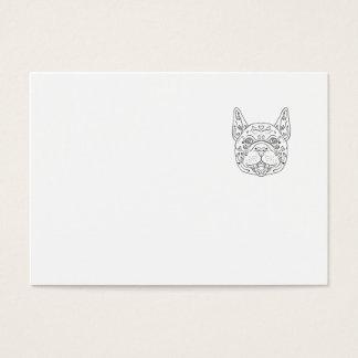 French Bulldog Head Mandala Business Card