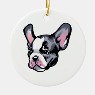 French Bulldog Head Double-Sided Ceramic Round Christmas Ornament