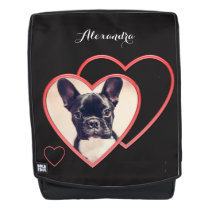 French Bulldog heart boldface backpack