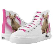 French Bulldog Heart high top tennis shoes
