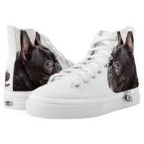 French Bulldog high top tennis shoes