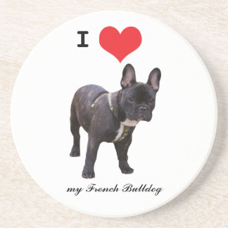 French Bulldog, I love heart coaster, gift idea Sandstone Coaster