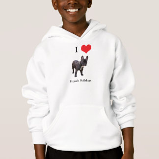 French Bulldog I love heart kids hooded sweatshirt
