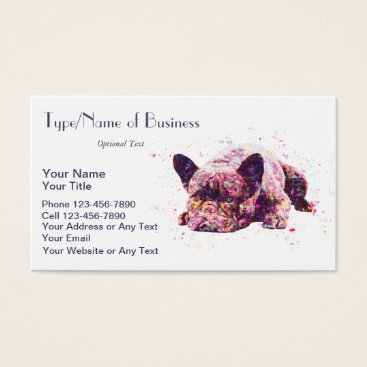 Professional Business French Bulldog Impressionist Art Cute Dog Painting Business Card